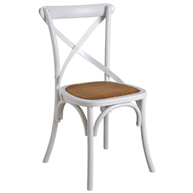 aubry gaspard - chaise de bistrot en bouleau et rotin - pas cher