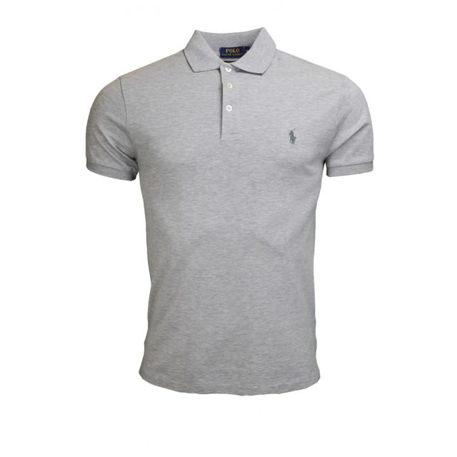 Polo 3 boutons gris pour homme