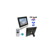 Auto-hightech - Cadre Photo numérique 15 pouces, noir, Mp3, Mp4, Sd, Usb
