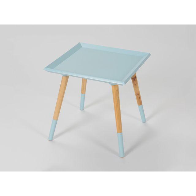 LA MAISON DU CANAPÉ Bout de canapé carré en pin - Bleu - Blanc