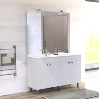 CREAZUR - Meuble salle de bain ÉCOLINE 120 double vasque résine - Blanc brillant