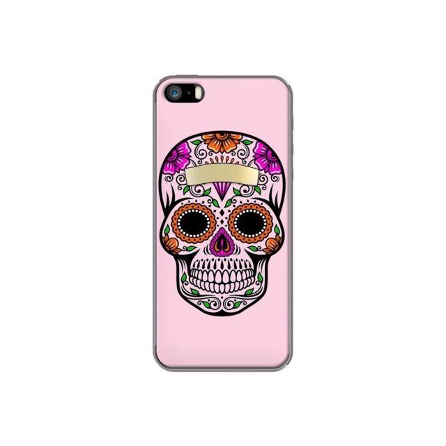 coque iphone 5 5s se tete de mort mexicaine rose multicolore 5s et se laetitia