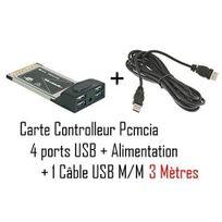 Cabling - Carte Pcmcia avec sortie 4 ports Usb 2.0 + Cable Usb M/M 3 mètres