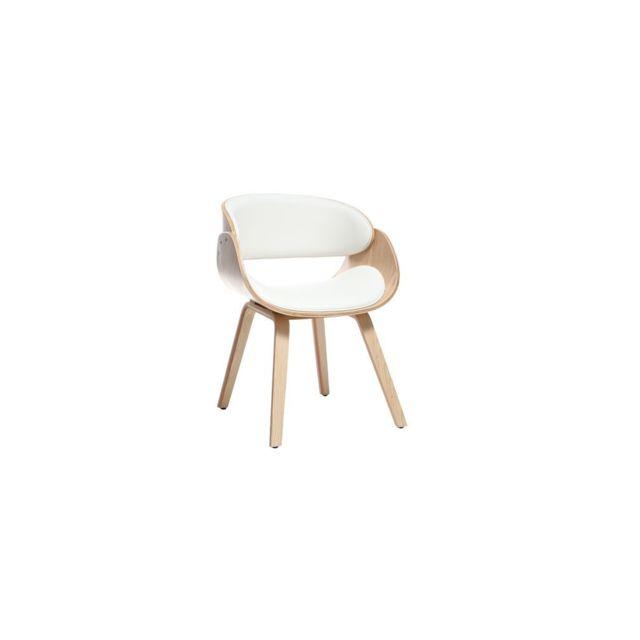Miliboo Chaise design blanc et bois clair Bent