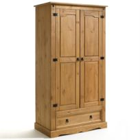 Idimex - Armoire penderie style mexicain pin massif finition cirée