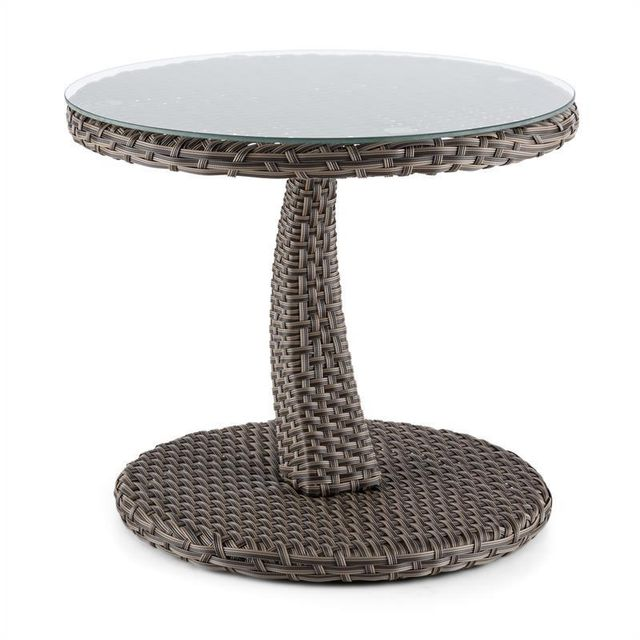 BLUMFELDT Tabula Table d'appoint plateau verre 50cm rotin synthétique alu -taupe
