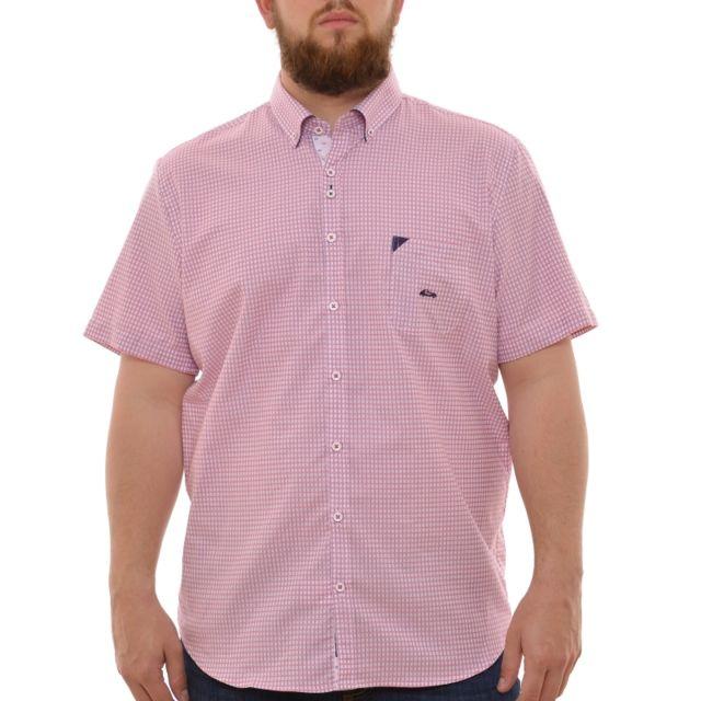 Dario Beltran Chemisette à carreaux rose et bleu