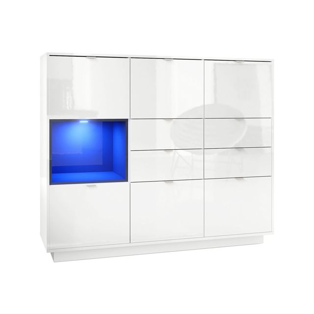 Mpc Buffet design laqu? blanc avec insertion noir