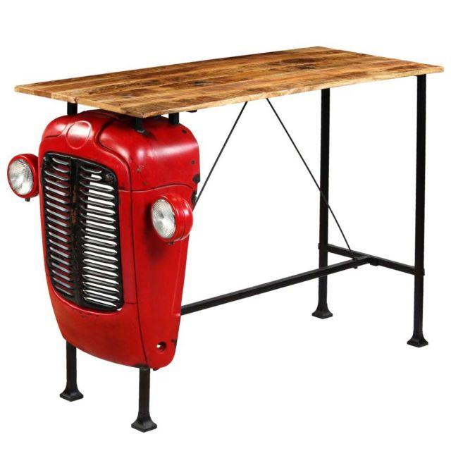 Icaverne Tables De Salle A Manger Et De Cuisine Sublime Table De Bar Bois De Manguier 60x150x107 Cm Rouge Tracteur
