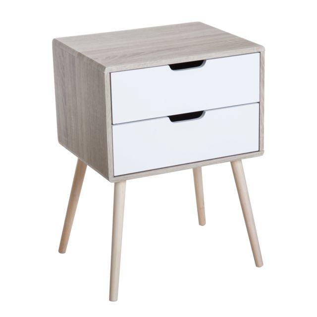 homcom chevet table de nuit 2 tiroirs design scandinave. Black Bedroom Furniture Sets. Home Design Ideas