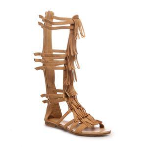 la modeuse spartiates montantes camel plates pas cher achat vente sandales femme. Black Bedroom Furniture Sets. Home Design Ideas