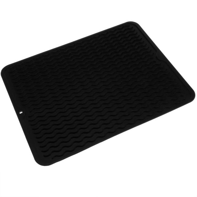 Primematik Tapis de séchage vaisselle en Silicone 405x307 mm noir