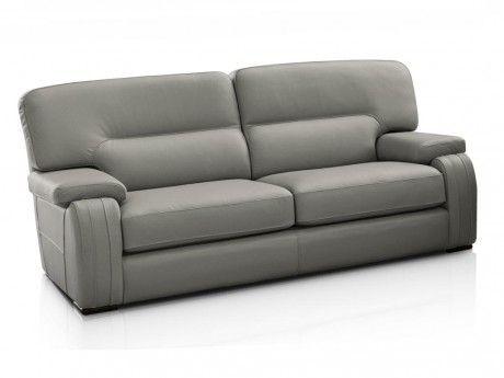 marque generique - canapé 3 places rodez 100% cuir de buffle - gris