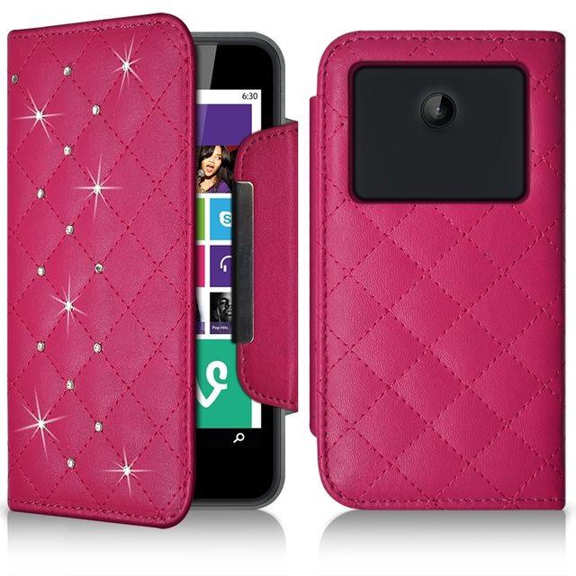 Karylax housse coque etui portefeuille style diamant universel s couleur rose fushia pour nokia lumia 635