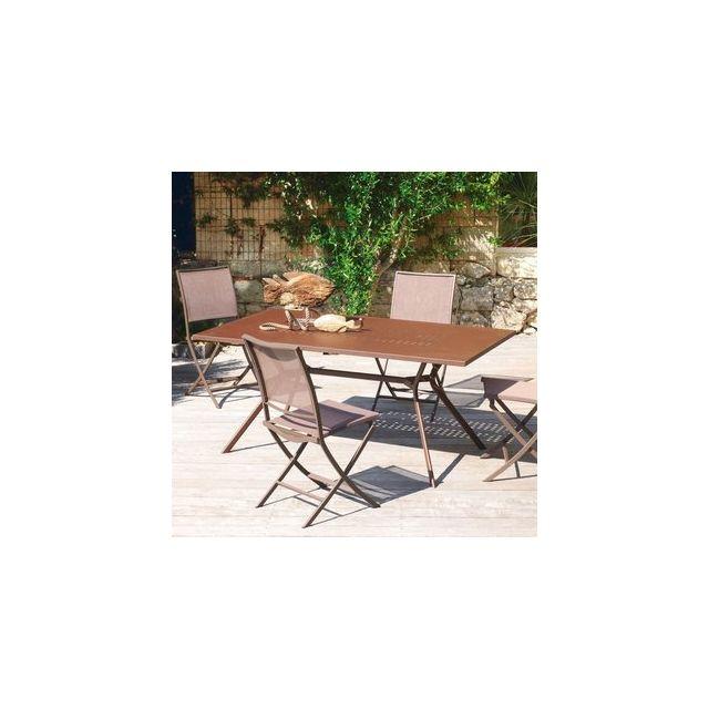 Delamaison - Table de jardin Acier à rallonge Carbet - 180/240x100 ...