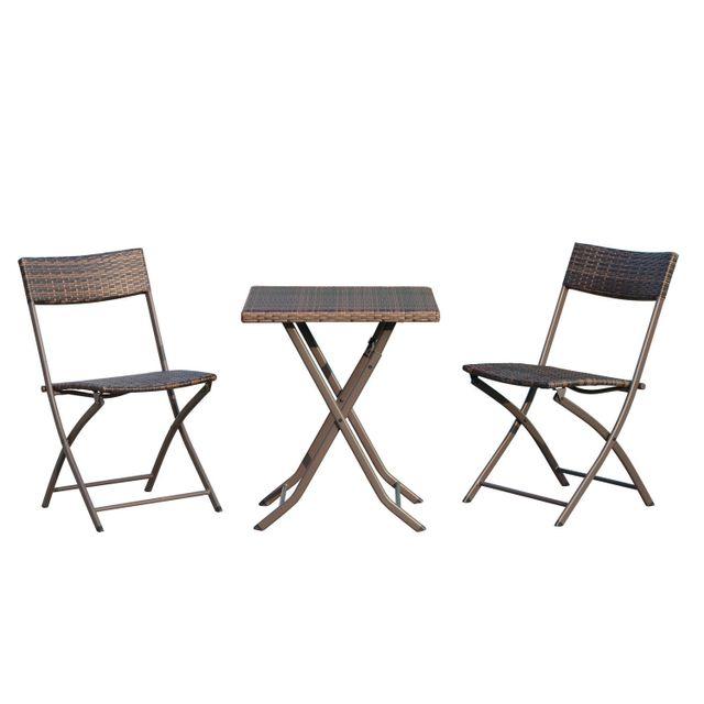 OUTSUNNY - Ensemble meubles de jardin design table carré et ...