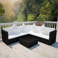 Salon de jardin avec canapé 2 places en polyrotin noir