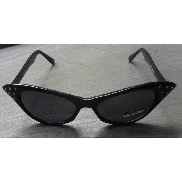11babb16574b5f Universel - Lunette de soleil femme cat eye strass noir pin up rockab