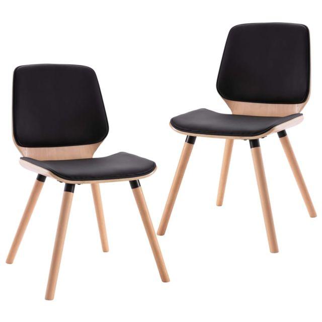 Chaises de cuisine ensemble Chaises de salle à manger 2 pcs Noir Similicuir