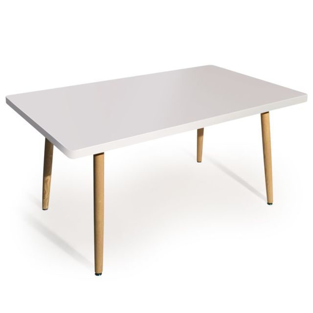 MENZZO Table rectangulaire scandinave Nora Blanc