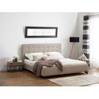 Beliani - Lit en tissu - lit double 180x200 cm - beige - sommier inclus - Ambassador