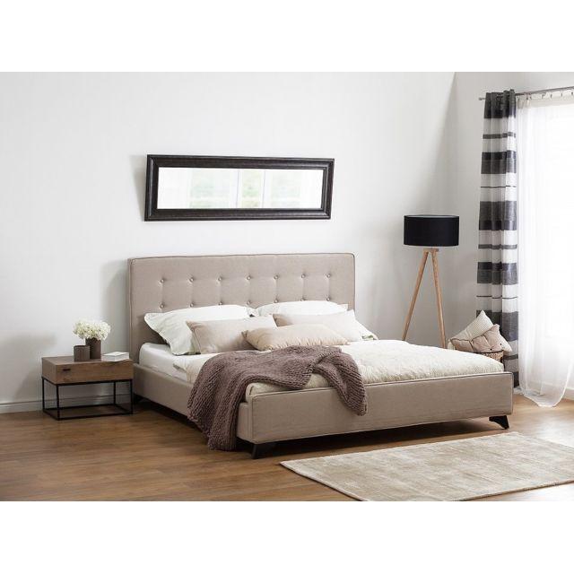 Lit en tissu - lit double 180x200 cm - beige - sommier inclus - Ambassador b3210e040bfb