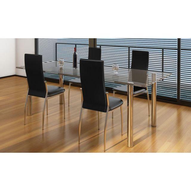 de cuisine à et de salle Cuir 4 à serie Chaise manger Noir de manger salle Icaverne Chaises pcs artificiel 5KJT1luFc3