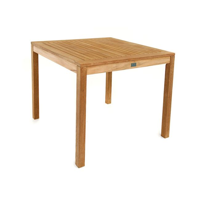 Gecko Jardin Table carrée en teck massif 90 x 90 cm Karina