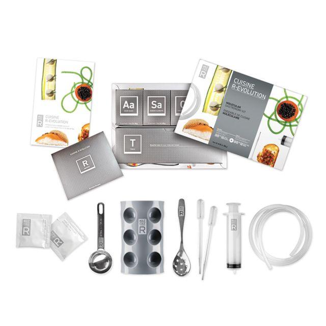 Touslescadeaux Kit Coffret de Cuisine Moléculaire - 20 sachets additifs - 9 accessoires - Dvd de 50 recettes