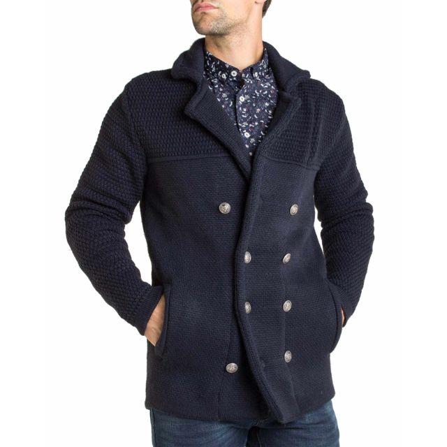 Enzo Di Capri Gilet hiver à grosse maille bleu marine laine à 8 boutons type caban