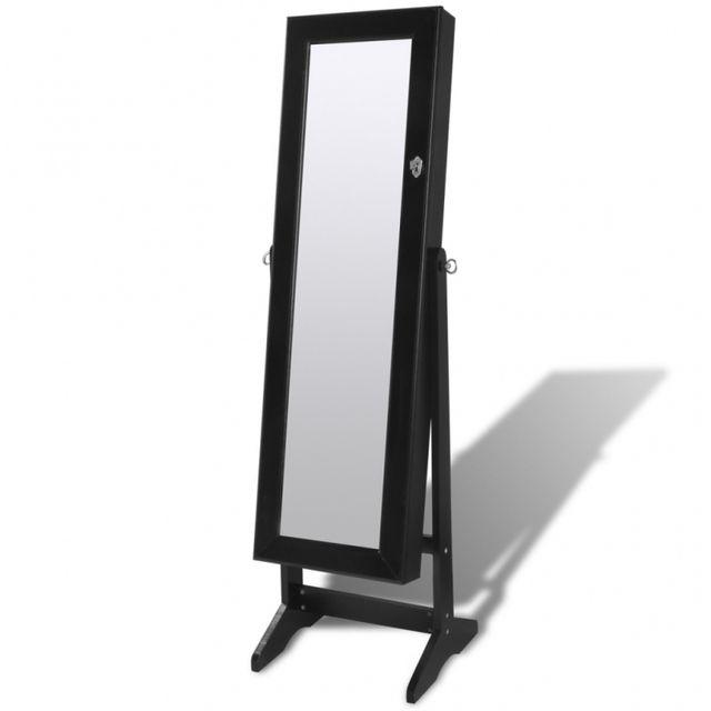 Casasmart Armoire à bijoux noire avec miroir et éclairage