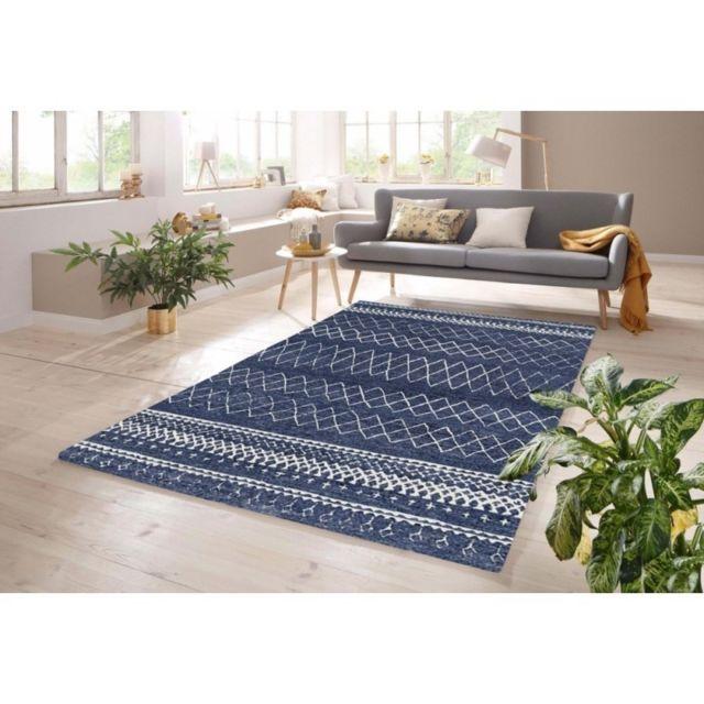 Tapis de salon tendance Indigo - Design oriental contemporain - Bleu - 120  X 170 cm