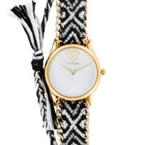 9ec2a9a055 Manoush - Montre Femme Cadran 35mm En Steel Blanc Et Bracelet Multicolore  En Tissu Et Chaîne