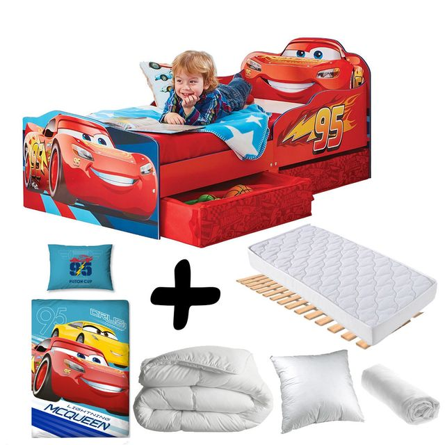 Bebe Gavroche Pack complet Premium Lit Design Flash McQueen tiroirs Cars Disney = Lit+Matelas & Parure+Couette+Oreiller