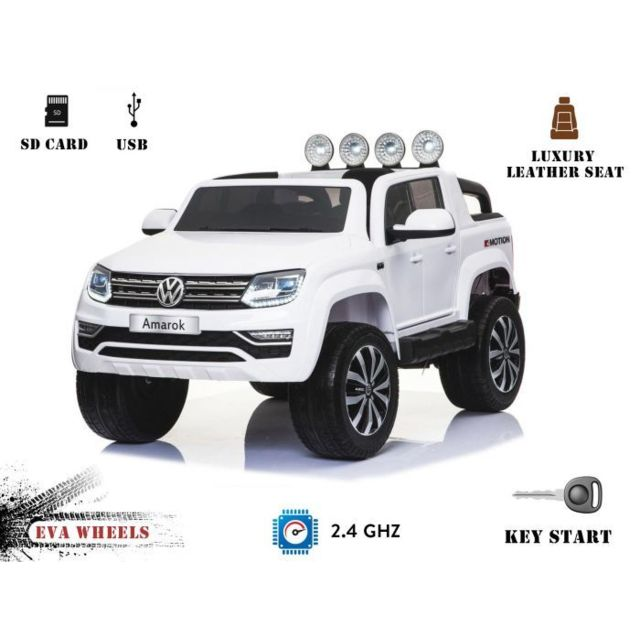 volkswagen amarok la voiture lectrique pour enfants couleur blanche 2 4 ghz 2x12v 4. Black Bedroom Furniture Sets. Home Design Ideas