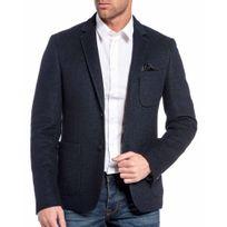 CENTS - Veste de costume en laine bleu foncé