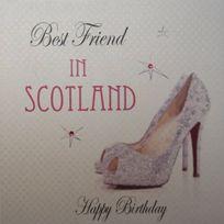 White Cotton Cards - White Cotton Card Best Friend In Scotland Carte D'ANNIVERSAIRE Faite À La Main Avec Paillettes Pour Chaussures De Ville