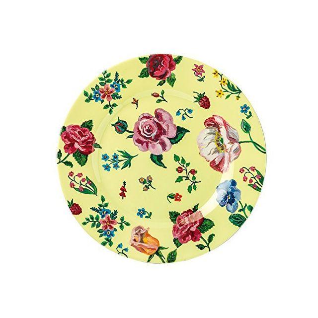 Petit Jour Paris Assiette à dessert jaune avec des fleurs 20 cm Petit Jour