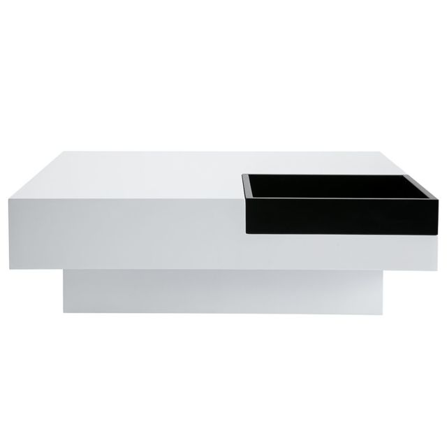 premier taux e45c7 704c4 Table basse design laquée blanche plateau noir amovible Teena