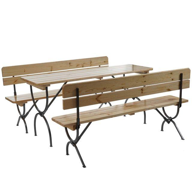Mendler Ensemble de jardin / brasserie Linz, table + 2 bancs avec dossier, laqué ~ 180 cm