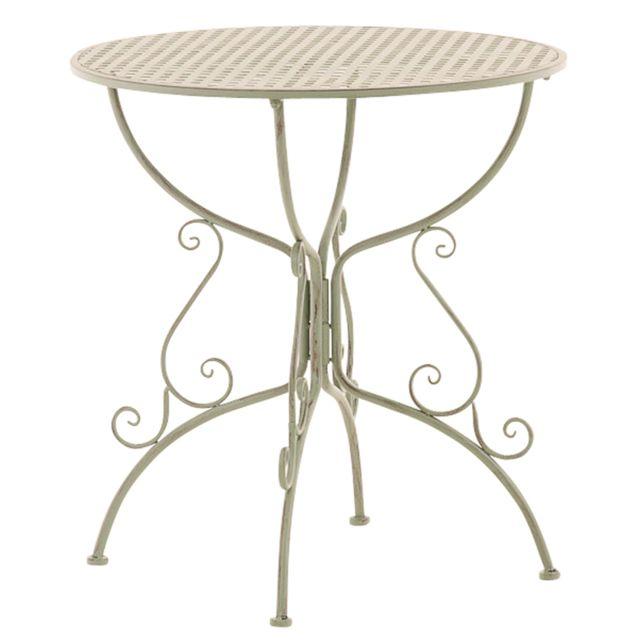 Pegane - Table de jardin ronde en fer forgé coloris vert antique ...