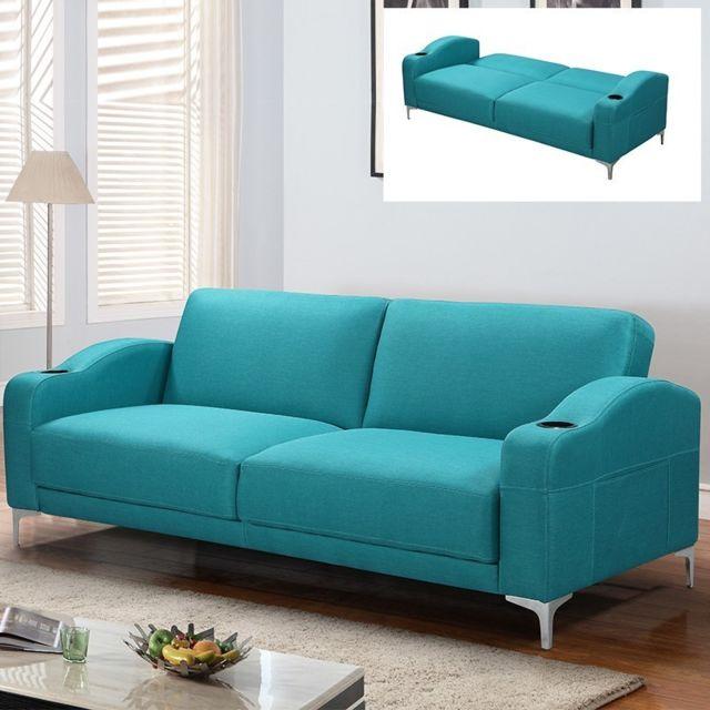Meubler Design Canapé Clic Clac Convertible 3 Places Litbar - Bleu