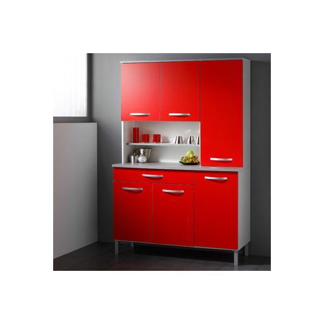 Buffet de cuisine 6 portes 120x44x181cm coloris rouge