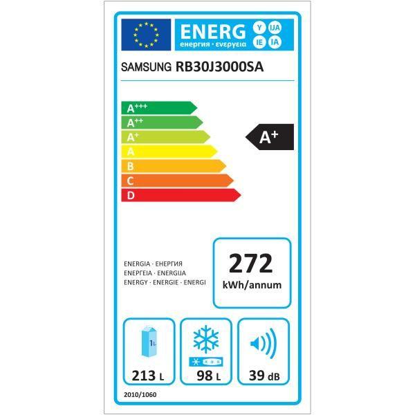 Samsung - réfrigérateur combiné 311l a+ nofrost silver - rb30j3000sa/ef