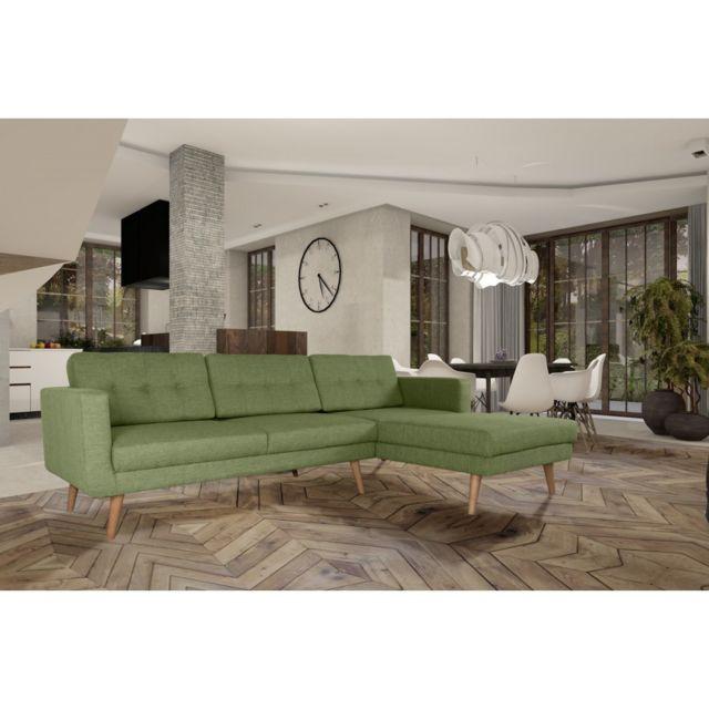 Rocambolesk Canapé Hedvig angle droit 3L savana vert 08 pieds naturels sofa divan