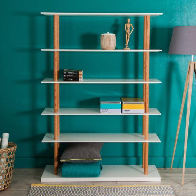 Kaligrafik Etagère design 5 niveaux en bois laqué blanc L 120 cm H 168cm Jacobson
