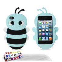 """Muzzano - Coque Souple """"Abeille"""" Premium Bleu lagon pour Apple Iphone 4 / Iphone 4S + 3 Films de protection ?cran"""