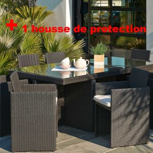 dcb garden salon de jardin r sine tress e avec 8 fauteuils encastrables noir housse de. Black Bedroom Furniture Sets. Home Design Ideas