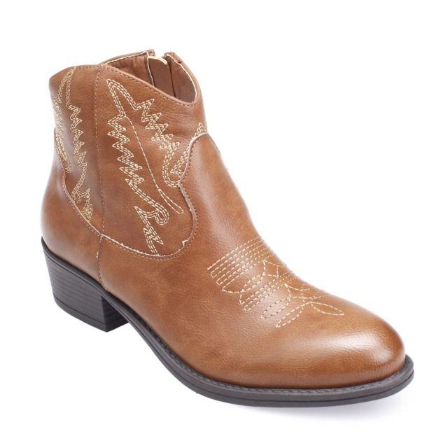 f055321237441 Lamodeuse - Bottines santiags camel - pas cher Achat   Vente Boots ...