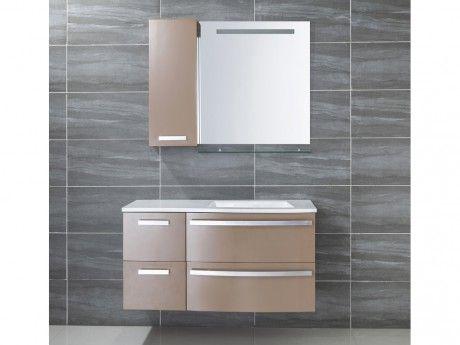 Marque Generique Ensemble de salle de bain Nereide - meubles + vasque + miroir - Taupe